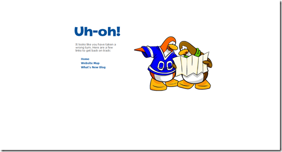404 Error Page Design - Club Penguin