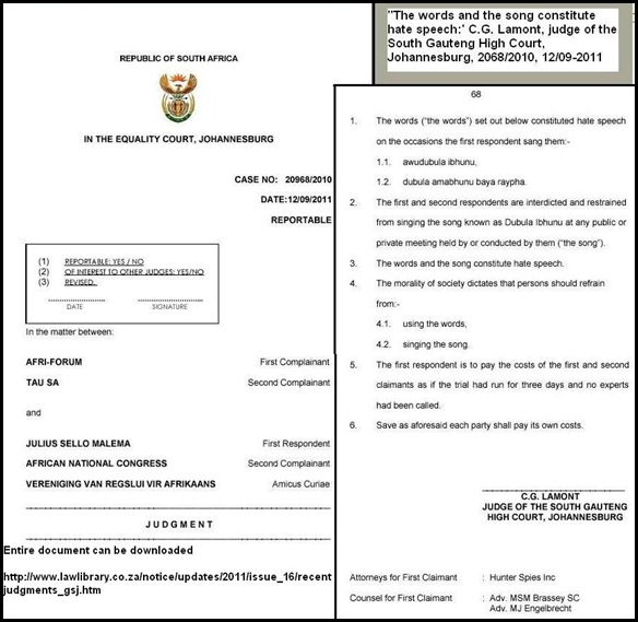 KILL BOER p1 HATESPEECH CASE 20968_2010 DD 12_09_2011 MALEMA GUILTY FINDING