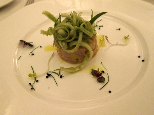 """Amber jack fish tartare with ginger, lime and """"puntarelle"""" salad"""