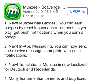 Munzee version 2.10 for iOS