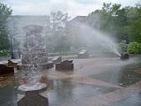 Spray fountain in the children's playground.