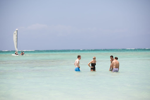 Everyone enjoyed the warm ocean waters.