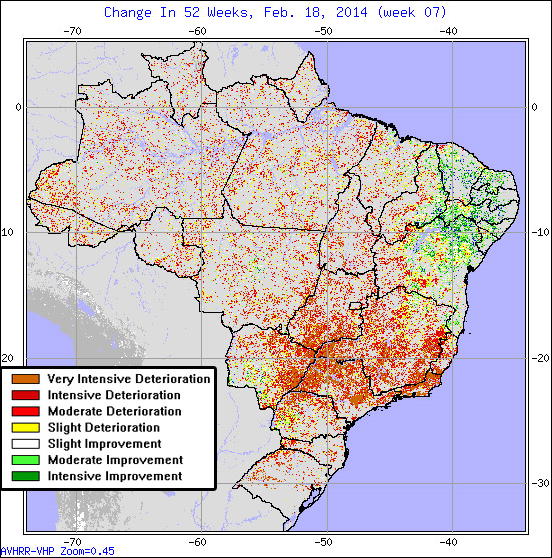 Exceptional drought conditions in Brazil, week of 18 February 2014. Graphc: NOAA /  mongabay.com
