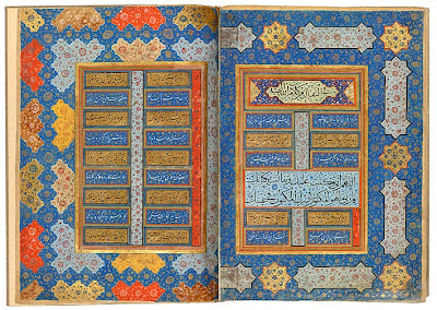 "Auguries from the Jerrāḥ Pasha Qur˒an Qur˒an, in Arabic. Persia, Shiraz, ca. 1580. On paper. The second pair of decorated facing pages at the end of the Jerrāḥ Pasha Qur˒an contains texts relating to the taking of auguries from the Qur˒an, with an interpretation for each letter of the alphabet. There is a break in the sequence, indicating a missing folio. The headings are in muḥaqqaq script and the lines of poetry are in nasta˓līq script. According to tradition, muḥaqqaq, meaning ""accurate"", or ""well-organized,"" was the first script to be regularized."