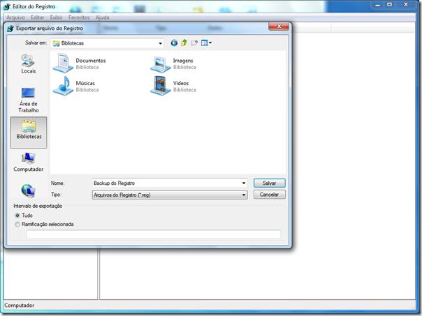 Clique em Exportar, no menu Arquivo. Digite um nome para o arquivo de backup e clique em Salvar.