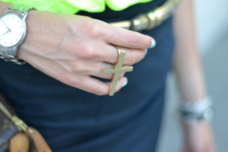 River Island ring, Cross Ring,Double Fingers Cross Ring , River Island, Asos watch, Chanel Le Vernis