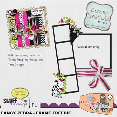 Mommy Me Time Scrapper - Fanzy Zebra - Frame Freebie Preview