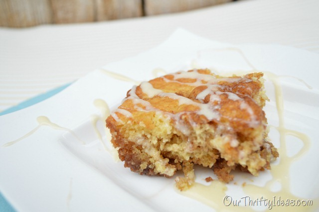 Cinnamon Roll Cake with cream cheese frosting. It tastes like the yummiest most moist cinnamon roll you have ever had.