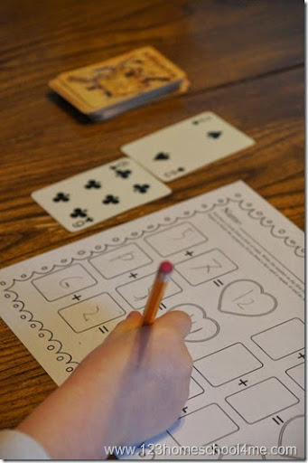 math worksheet : deck of cards math  addition : Addition Games Worksheets