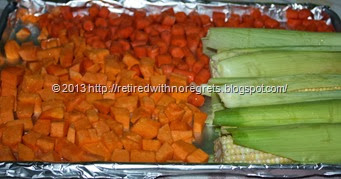 Roasting Vegetables- carrots corn squash