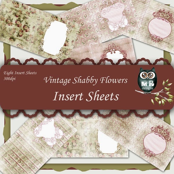 Vintage Shabby Flowers Insert Sheet Front Page