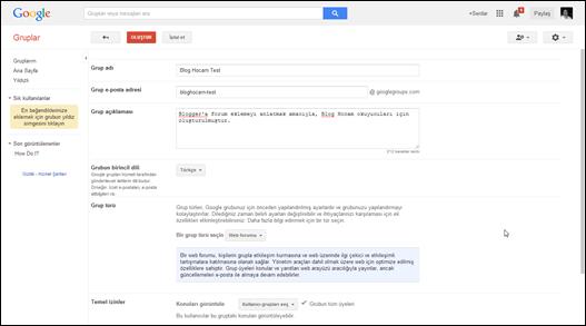 Google Grup Oluşturma