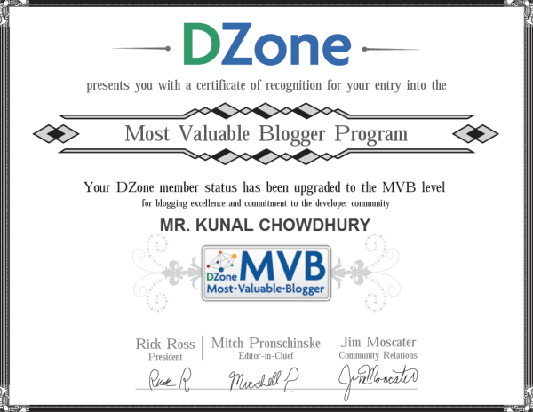 Kunal Chowdhury (DZone's Most Valuable Blogger)