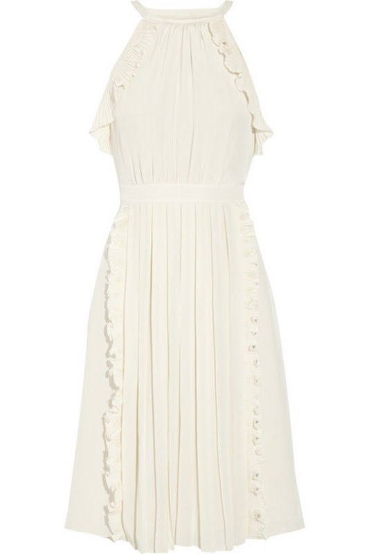 tibi ruffled crepe de chine dress white