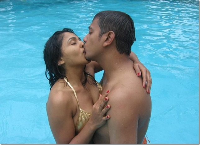 Desi girl in bikini kissing her boyfriend after bathing in swimming