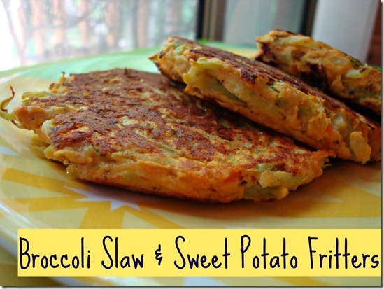 broccoli slaw and sweet potato fritters