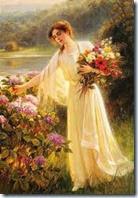 moça e flores