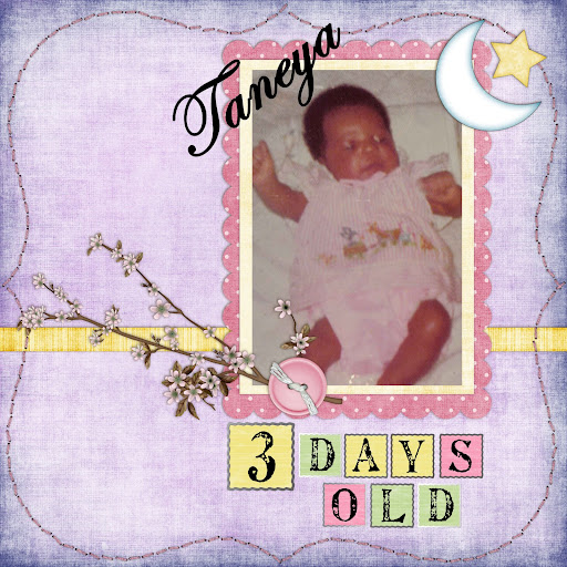 "Quick page template designed by Ellie Lash ""Dreaming About Baby.""   Scrapbook page created July 9, 2009"