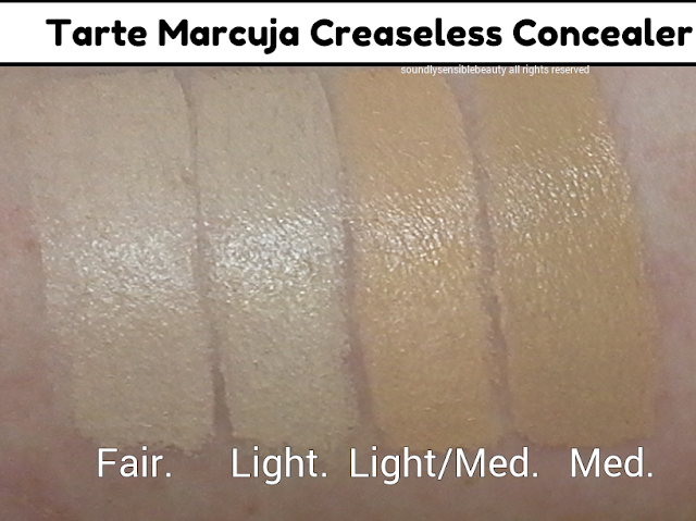 Tarte Marcuja Creaseless Concealer; Review & Swatches of Shades Fair, Light, Light/Medium, Medium,