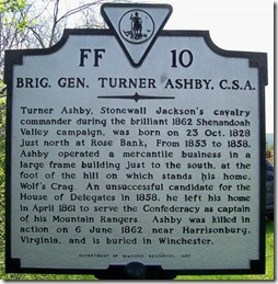 Brig. Gen. Turner Ashby, CSA marker FF-10 in Fauquier Co., VA