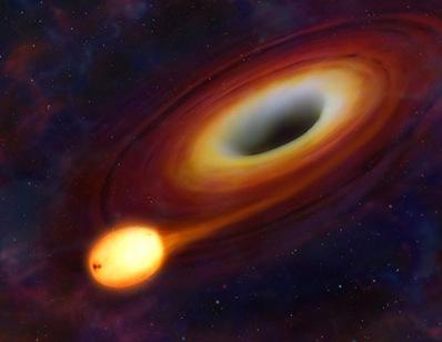 ilustração da colisão entre estrela e buraco negro