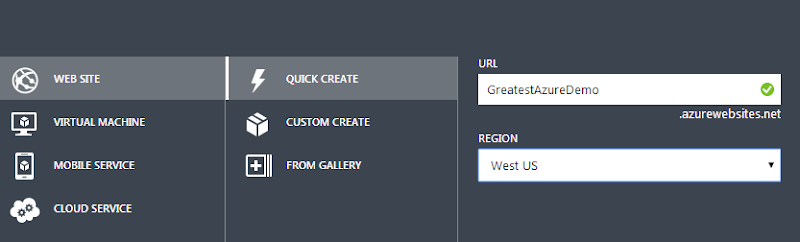 Creating a new website names GreatestAzureDemo in West US
