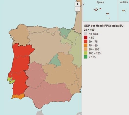 PIB percapita 2011 Portugal NUTII