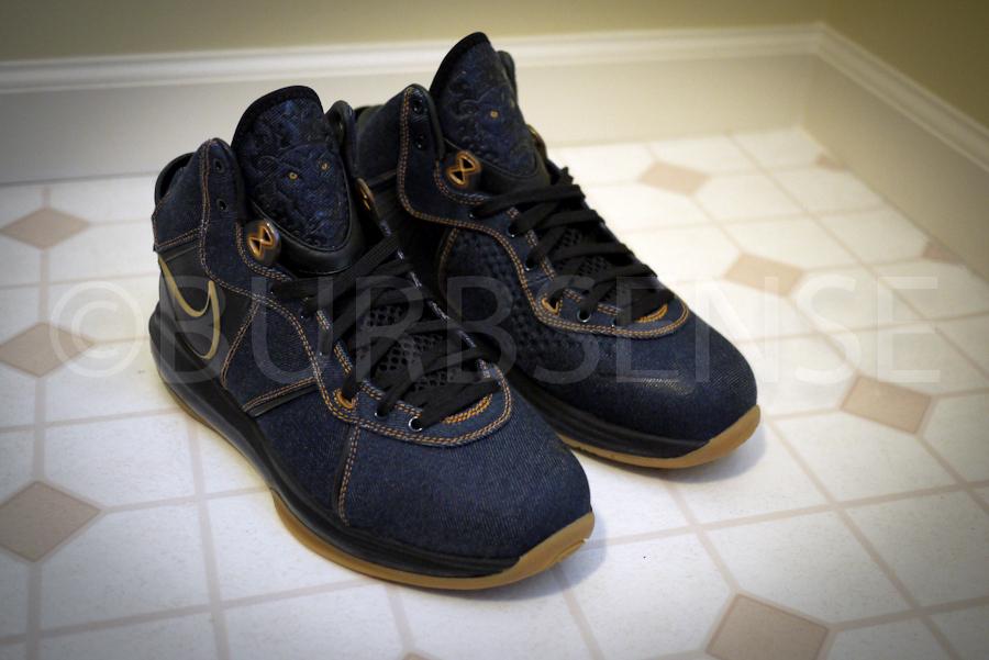 Nike LeBron 8 James Dean Denim Sneakers (Denim / Gold)