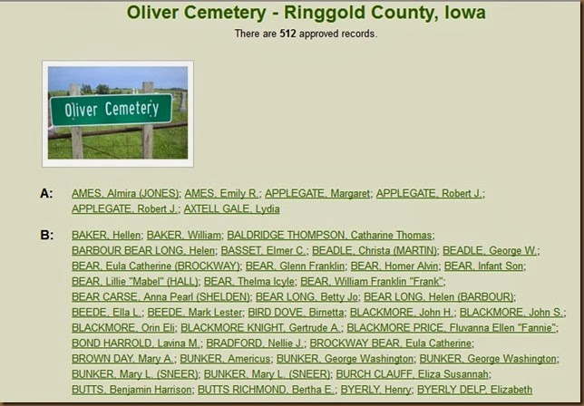 Oliver cemetery listings without Boggs