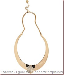 gold tone leopard torque necklace