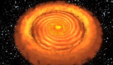 núcleo e disco de poeira e gás da estrela V1647 Ori