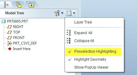 Creo-Pro-Engineer-Model-Tree-Show-Preselection-Highlighting-On-Off