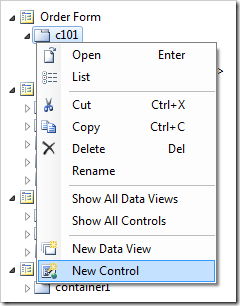 'New Control' option in Code On Time Project Explorer