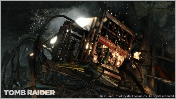 You think you had a rough day? Another peril greets Lara Croft in this screen shot. CLICK to visit the official TOMB RAIDER site.