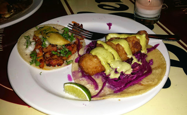 Al Pastor and Baja crispy fish tacos