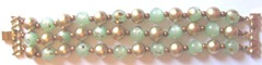 vintage green n gold bead clasp bracelet lengthwise