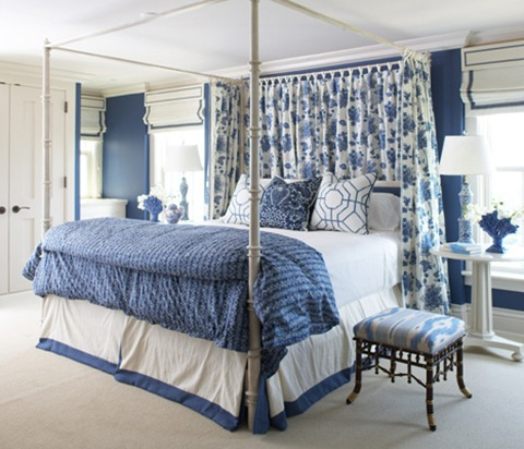 blue and white bedroom with faux bamboo stool