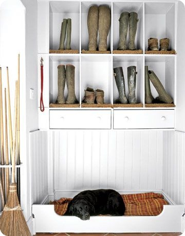 dog bed shoe storage