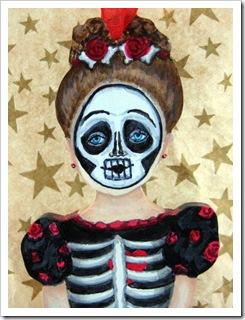 Skeleton Girl Ornament face