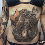 rabbit - Stomach Tattoos Designs