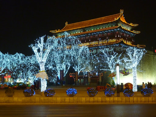 ...the South Gate of Xi'an wall by night, in preperation for CNY!