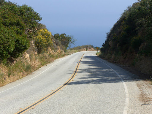 Encinal Canyon Rd (great, winding descent with nice views of the Pacific Ocean)