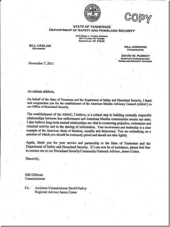TN Dept of Safety & Homeland Security letter to Gov. Haslam 11-7-11