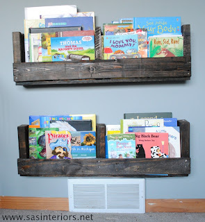 Kids Child's Children's bedroom ideas Recycled Reuse Natural Shelves Books