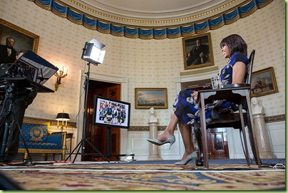 "First Lady Michelle Obama participates in the ""Let's Move!"" Google+ Hangout in the Blue Room of the White House, March 4, 2013. (Official White House Photo by Chuck Kennedy)"
