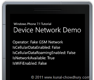 Device Network Information Demo using Windows Phone 7.1 (Mango) Emulator