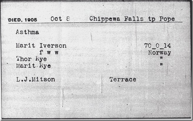 Marit (Thorsdatter) Iverson's Death Certificate