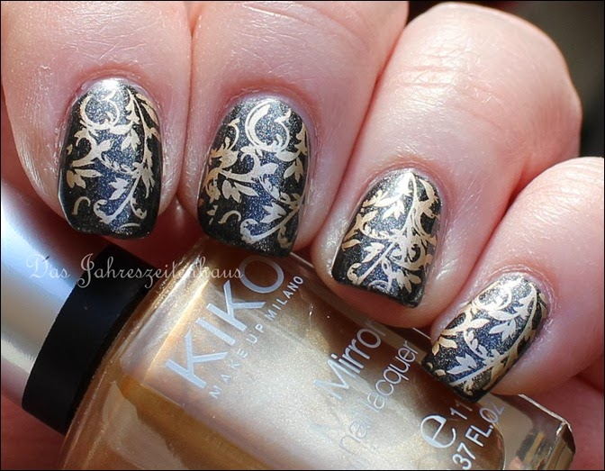 Baroque Gold Ornament Nageldesign 3