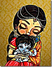 Mother Yashoda holding Krishna