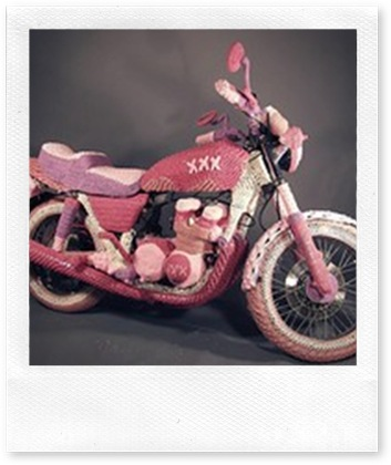pink knit motorcycle
